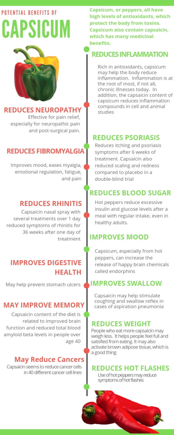 Capsicum Health Benefits Infographic by The Healthy RD