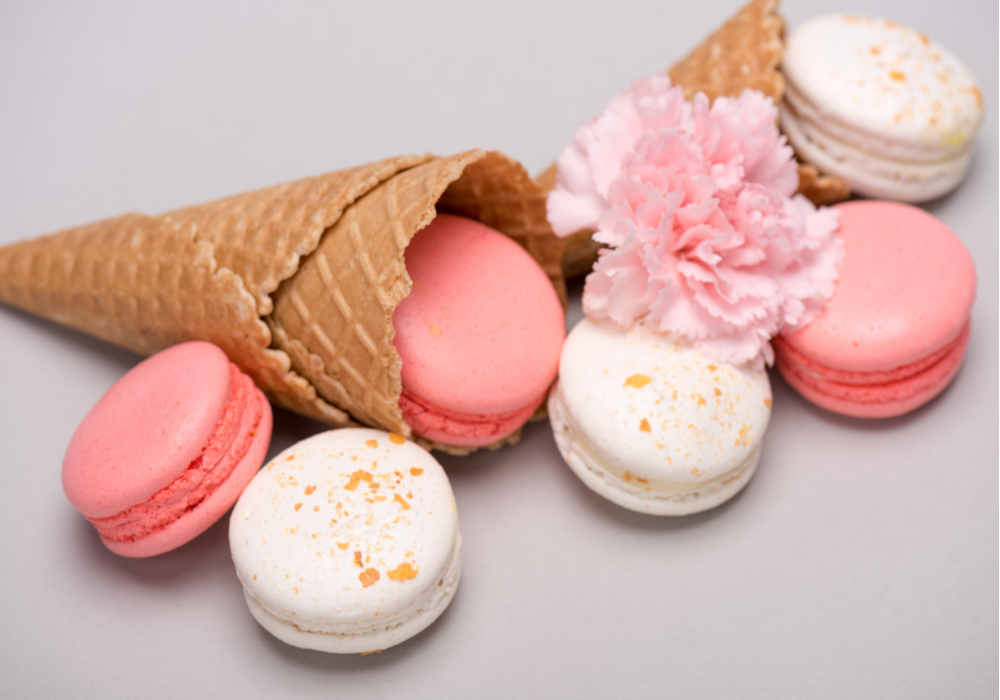 Colorful cookies and waffle cone with pink carnation by The Healthy RD