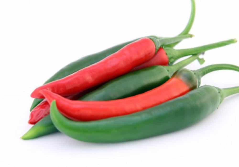 Fresh red and green hot peppers by The Healthy RD