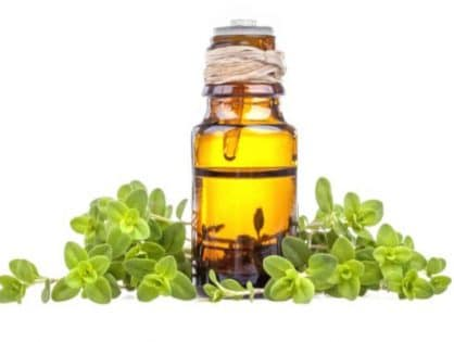 Amber bottle of marjoram essential oil by The Healthy RD