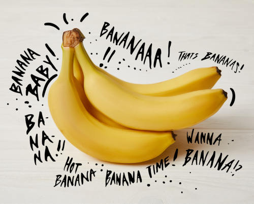 Yellow bananas with fun words by The Healthy RD