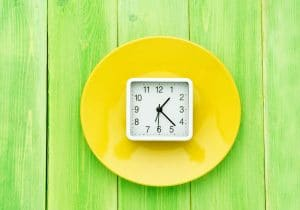 Clock on bright yellow plate and green background by The Healthy RD