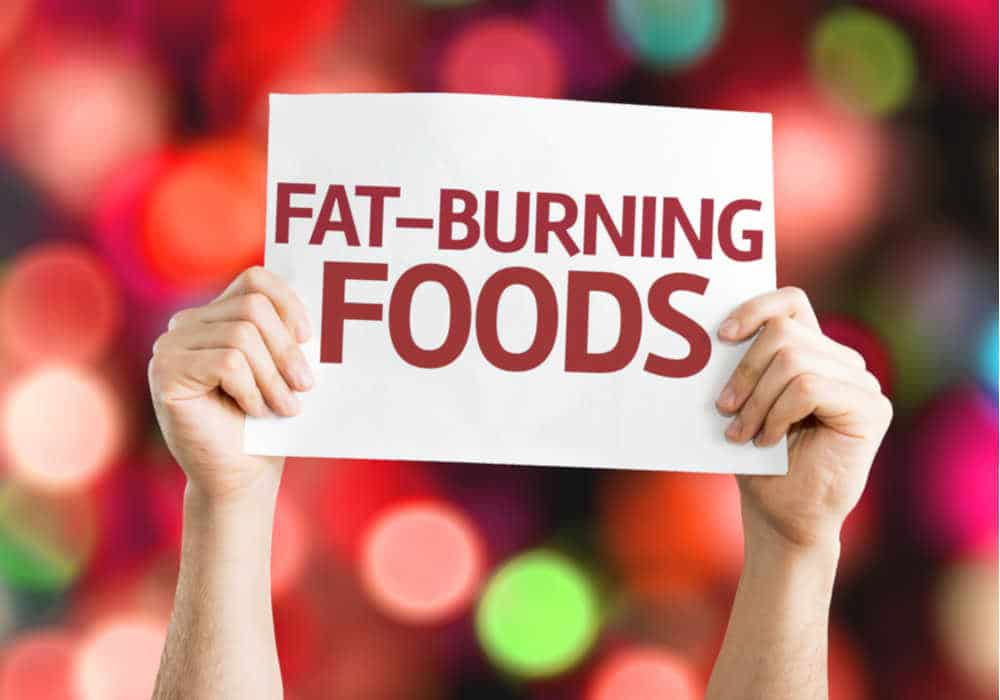 Sign with the words in red letters Fat-Burning Foods by The Healthy RD