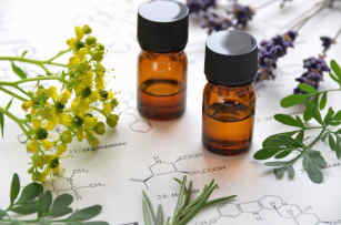 Natural apothecary with amber essential oils and herbs by The Healthy RD