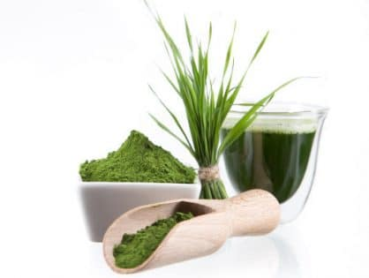 Chlorella powder and barley grass with green superfood smoothie by The Healthy RD