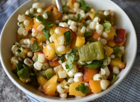 Peach green chile salsa by The Healthy RD