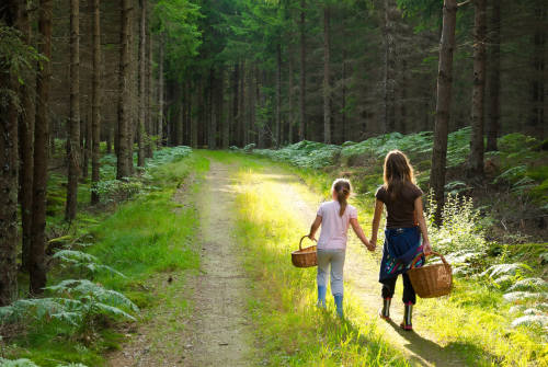 Girl and mom strolling on a walk with their road trip food baskets by The Healthy RD