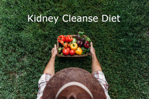 Kidney cleanse diet showing fresh vegetables and farming gazing down at them by The Healthy RD