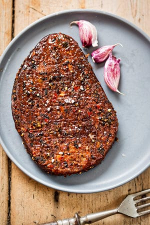 Quorn burger with fresh garlic by The Healthy RD