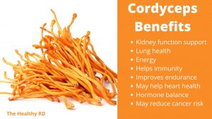 Cordyceps benefits infographic by The Healthy RD