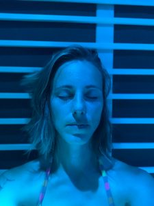 Sauna experience with different chromotherapy settings by The Healthy RD