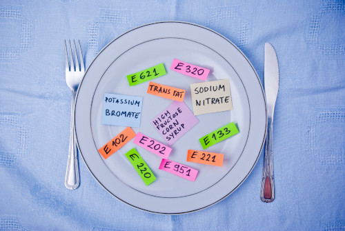 Chemicals in foods depicted as colorful words on a plate by The Healthy RD