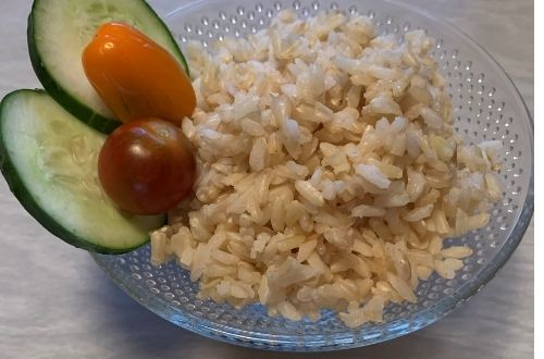 Fermented rice, using brown rice with cucumber and tomato garnish by The Healthy RD