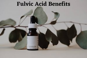 Fulvic acid benefits depicting a fulvic acid dropper bottle by The Healthy RD