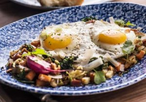 Breakfast hash with sauerkraut by The Healthy RD