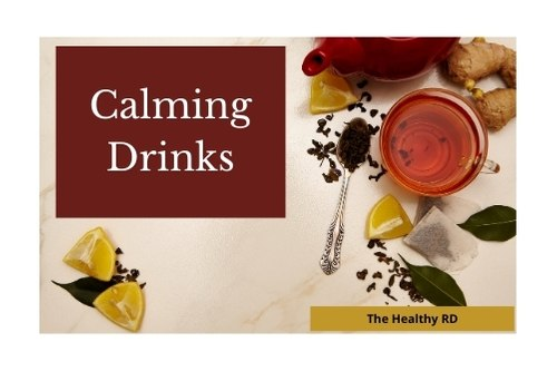 Calming drinks depicting a tulsi herbal infusion with lemon and ginger by The Healthy RD