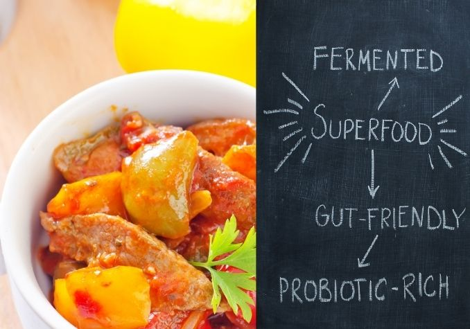 Chalkboard depicting fermented superfoods, gut-friendly foods, and a colorful meat and vegetable dish by The Healthy RD
