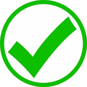 Green check mark with a circle around it by Cliparts.co