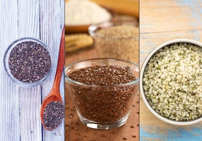 Photo collage depicting chia vs flax vs hemp depicting black chia seeds in a clear bowl, brown flax seeds in a clear bowl, and hemp hearts in a white bowl by The Healthy RD