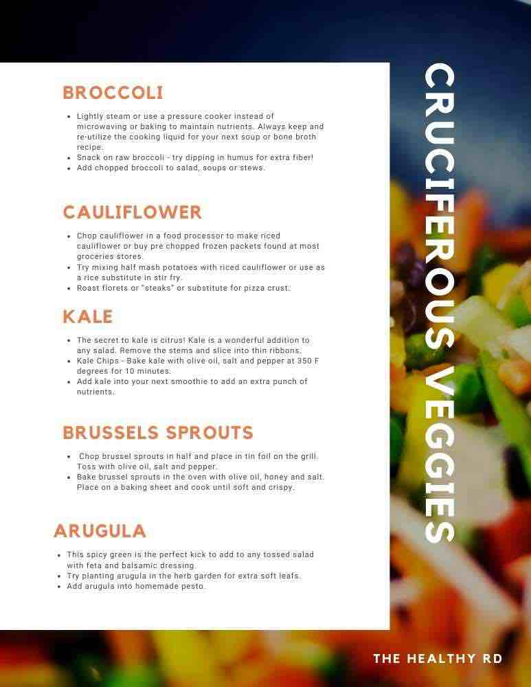 Tips for using cruciferous vegetables in the cruciferous vegetables and estrogen  post on a colorful vegetable background by The Healthy RD