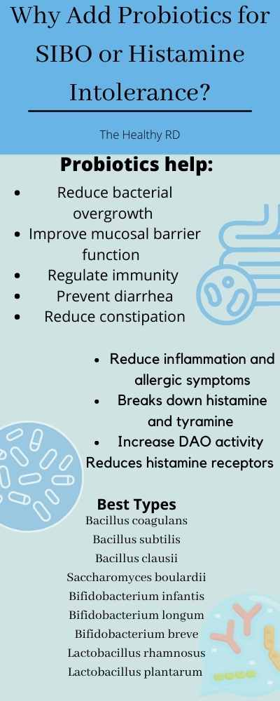 Infographic depicting the reasons why adding the best probiotic for SIBO and histamine intolerance help with symptoms of SIBO and histamine intolerance with graphics of intestines, probiotics, by The Healthy RD