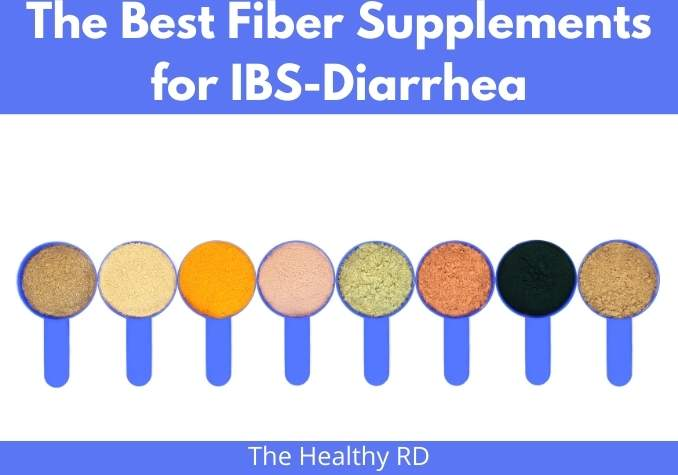 Image of a variety of fiber powders in blue scoops on a white background with wording The Best Fiber Supplement for IBS-D by The Healthy RD